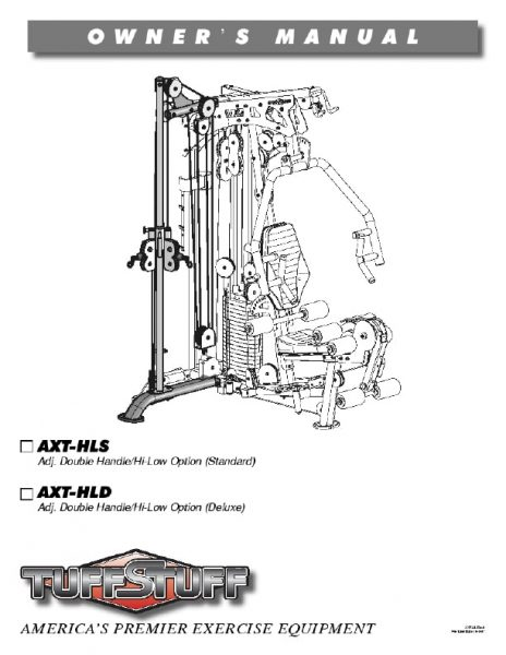 TuffStuff Fitness AXT Hi-Low Home Gym Owners Manual