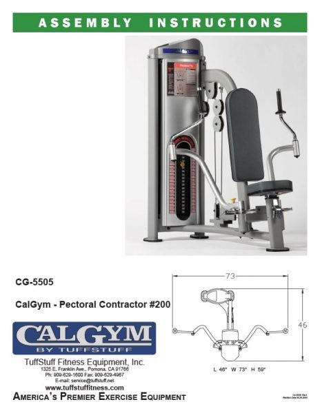 CalGym Pectoral Contractor (CG-5505) Owner's Manual