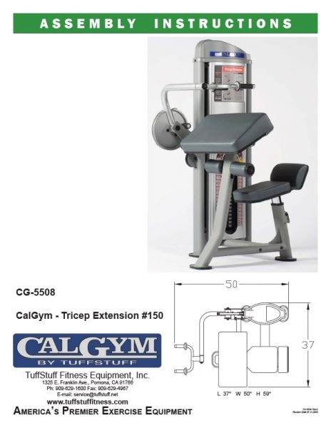 CalGym Tricep Extension (CG-5508) Owner's Manual