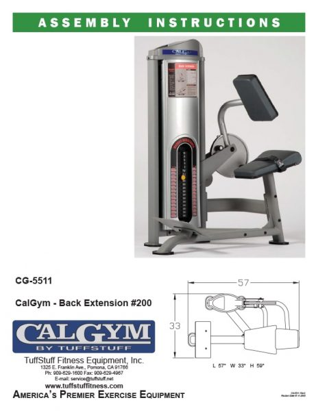 CalGym Back Extension (CG-5511) Owner's Manual