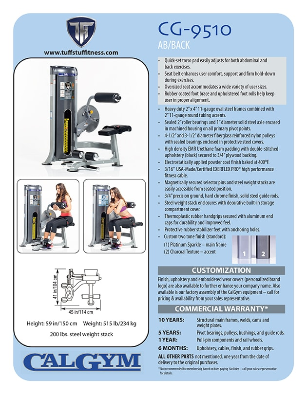 Spec Sheet: CalGym Ab - Back Extension (CG-9510)