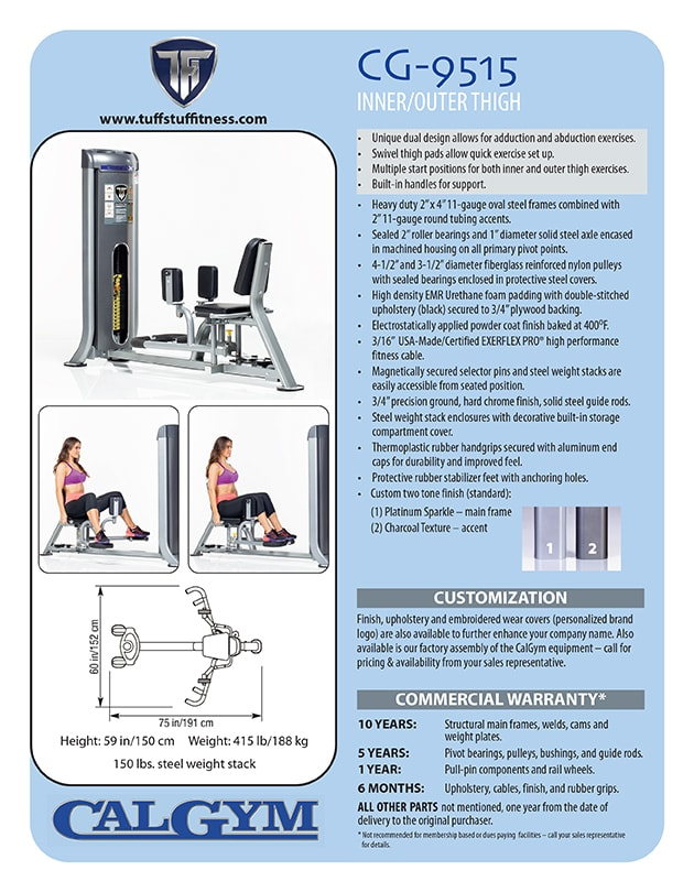 Spec Sheet - CalGym Inner / Outer Thigh (CG-9515)