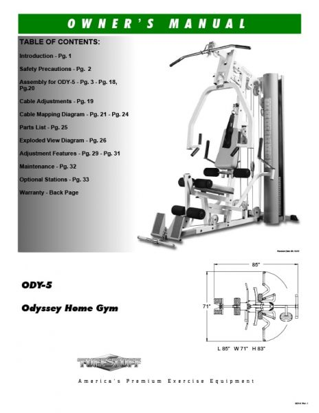 TuffStuff Odyssey 5 Home Gym Owners Manual