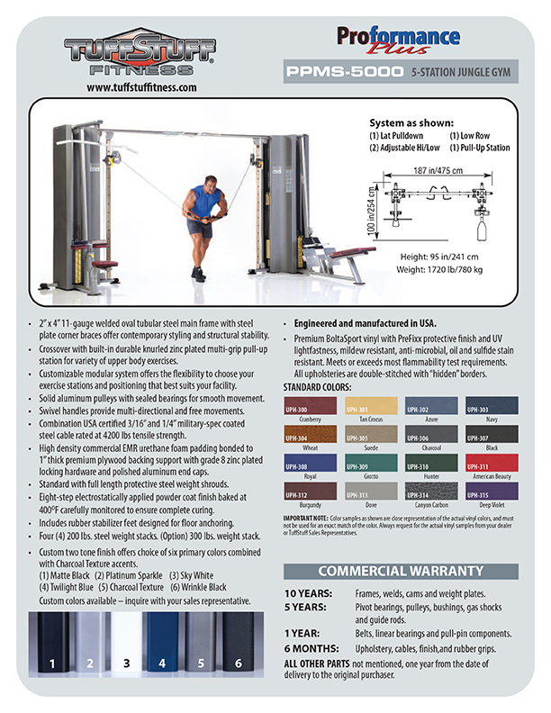 Spec Sheet - Proformance Plus 5-Station Jungle Gym (PPMS-5000)