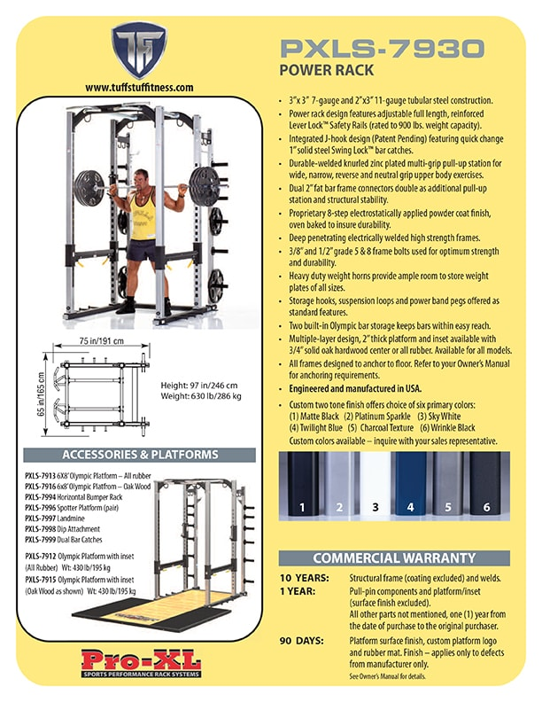 Spec Sheet - TuffStuff's PRO-XL Power Rack (PXLS-7930)