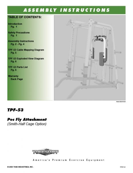 TuffStuff (TPF-53) Pec Fly Attachment Owner's Manual